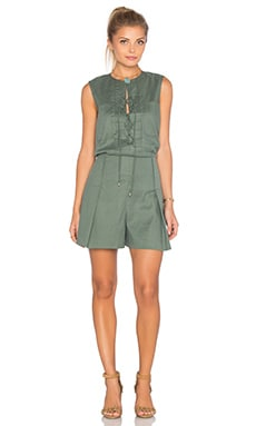 Sleeveless Lace Up Romper in Army