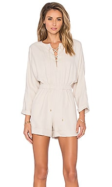 Lace Up Romper in Taupe