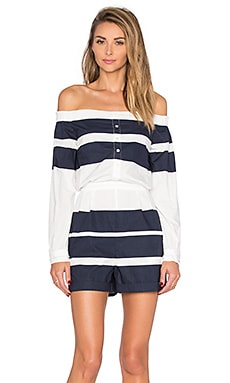 Off The Shoulder Romper in Midnight Stripe