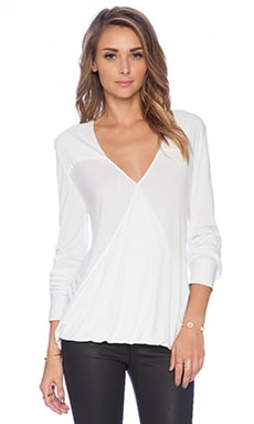DEREK LAM 10 CROSBY Drape Front Top in Soft White