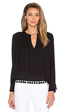 Tassel Detail Long Sleeve Pintucked Top in Black