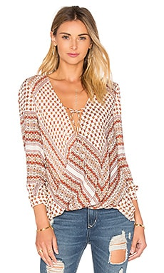 DEREK LAM 10 CROSBY Drape Front Tie Top in Cream Multi