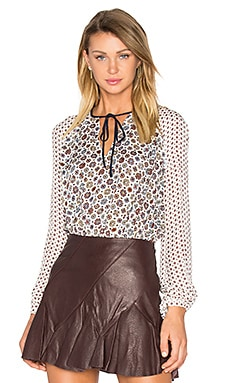 Peplum Tie Blouse em Soft White Multi