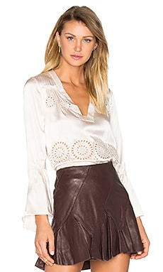 V-Neck Flutter Sleeve Blouse in Ivory