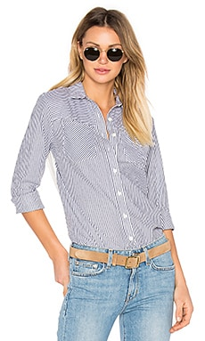 Long Sleeve Button Down Shirt en Bleu & Blanc