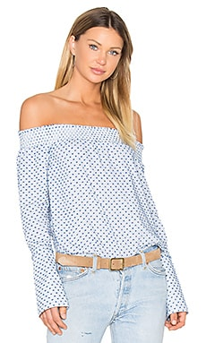 Long Sleeve Off The Shoulder Blouse en Oxford Multi