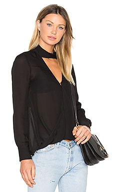 Long Sleeve Drape Front Collar Detail Blouse in Black