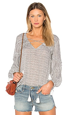 Bell Sleeve Ruffle Stripe Blouse in Charcoal