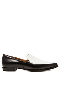 DEREK LAM 10 CROSBY Agatha Loafer in White & Black Calf