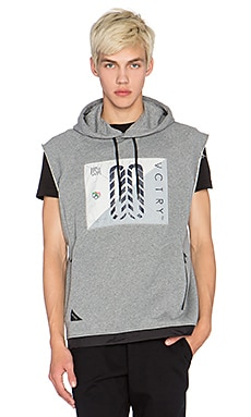 10 Deep Sleeveless Tech Hoodie in Grey Marl