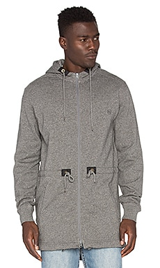 10 Deep Scoop Tail Fleece Parka in Dark Grey Marl