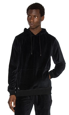 10 Deep Boxed In Velour Hoodie in Black