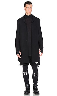 11 by Boris Bidjan Saberi Felted Wool Coat in Black