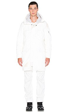 11 by Boris Bidjan Saberi Parka in White Snow
