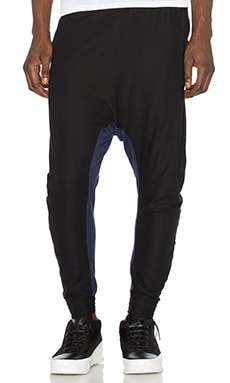 11 by Boris Bidjan Saberi Bi Color Sweatpants in Black & Navy