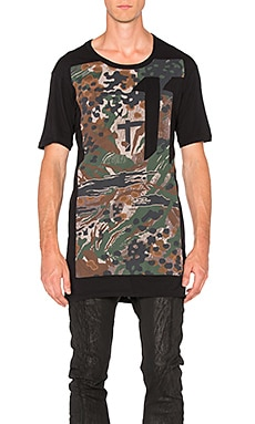 11 by Boris Bidjan Saberi S/S Camo Logo Tee in Black