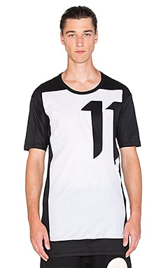 11 by Boris Bidjan Saberi Block Cut Tee in Black