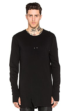 11 by Boris Bidjan Saberi Open Seam Grommet Tee in Black Dye