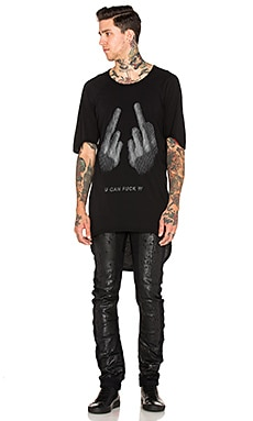 11 by Boris Bidjan Saberi Printed Tee in Black Dye