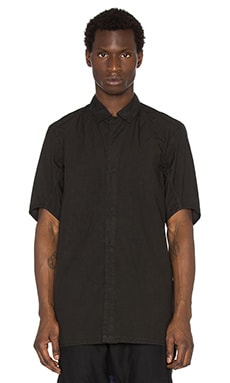 11 by Boris Bidjan Saberi Short Sleeve Button Down Shirt in Black Dye