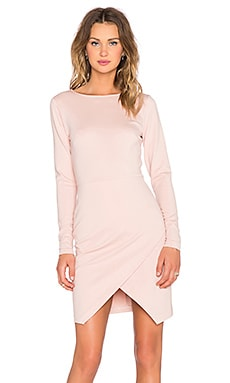 Long Sleeve Ponte Wrap Front Bodycon Dress en Blush Mist