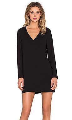 Long Sleeve Shift Dress with Double Bar Back in Rich Black