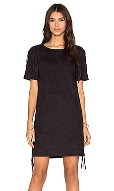 1. STATE Side Fringe Faux Suede Dress in Rich Black