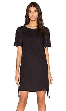 1. STATE Side Fringe Faux Suede Dress in Rich Black