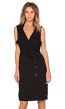 Trench Midi Dress in Rich Black