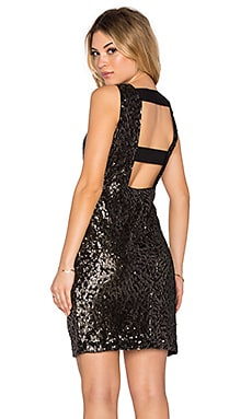1. STATE Sequin Sleeveless Bodycon Dress in Rich Black