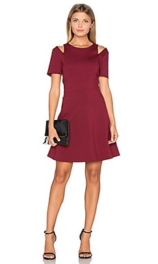 Cut Out Shoulder Fit & Flare Dress in Wine