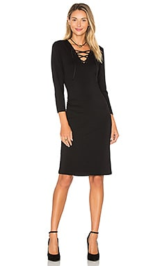 Long Sleeve Lace Up Bodycon Dress in Rich Black