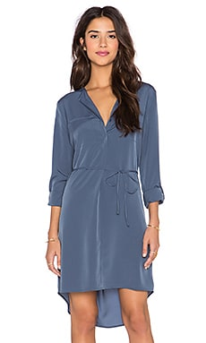 1. STATE Two Pocket Roll Sleeve Shirt Dress in Slate