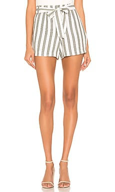Flat Front Regancy Stripe Tie Waist Short 1. STATE $58