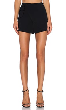 1. STATE Wrap Front Side Tie Short in Rich Black