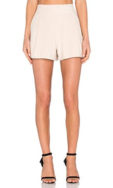 Flat Front Suede Short in Cashew Milk