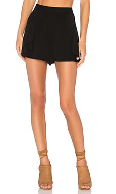 Side Ruffle Short in Rich Black