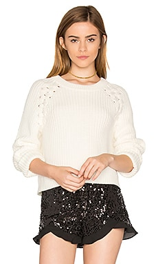 Lace Up Shoulder Sweater em Giz
