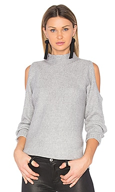 Cold Shoulder Sweater en Gris Clair Chiné