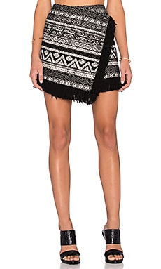 1. STATE Fringe Hem Cross Front Mini Skirt in Rich Black