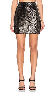 Sequin Mini Skirt em Rich Black