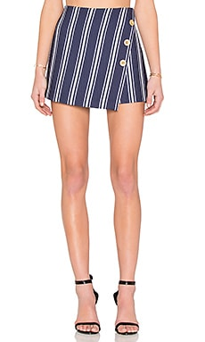 1. STATE Button Cross Front A Line Skort in Evening Navy