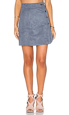 1. STATE Side Button A-Line Skirt in Grey Mist
