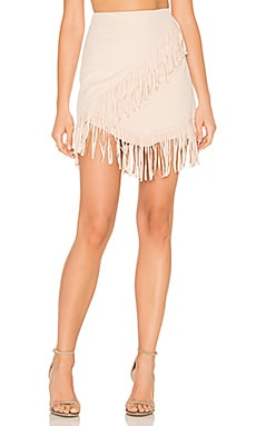 Fringe Wrap Faux Suede Mini Skirt in Cashew Milk