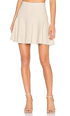 Flounce Mini Skirt in Camel Heather