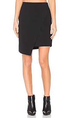 Asymmetrical Cross Front Skirt in Rich Black