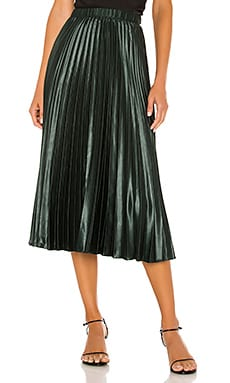 Matte Satin Pleated Midi Skirt 1. STATE $99