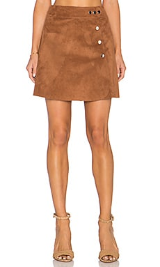 1. STATE Side Button A Line Mini Faux Suede Skirt in Hazel