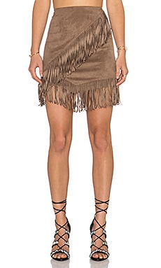 Fringe Wrap Faux Suede Mini Skirt in Shadow Brown