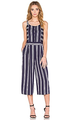 Button Front Culotte Jumpsuit en Evening Navy